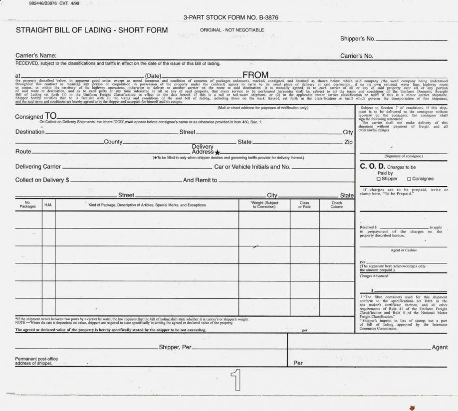 Straight Bill Of Lading Short Form Doc
