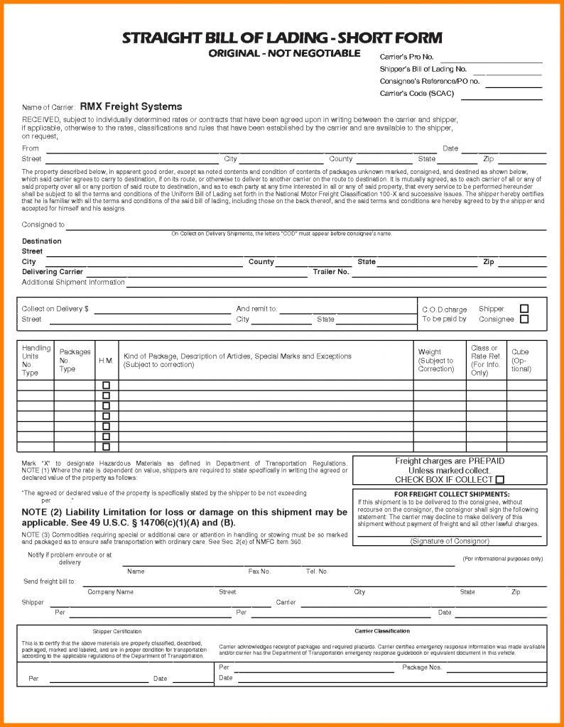 Straight Bill Of Lading Short Form Sample