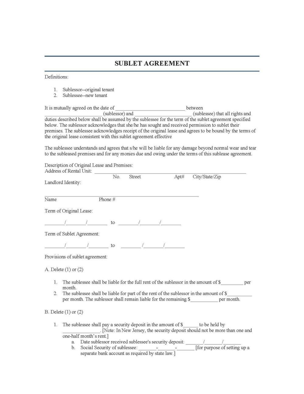 Sublet Agreement Form Bc
