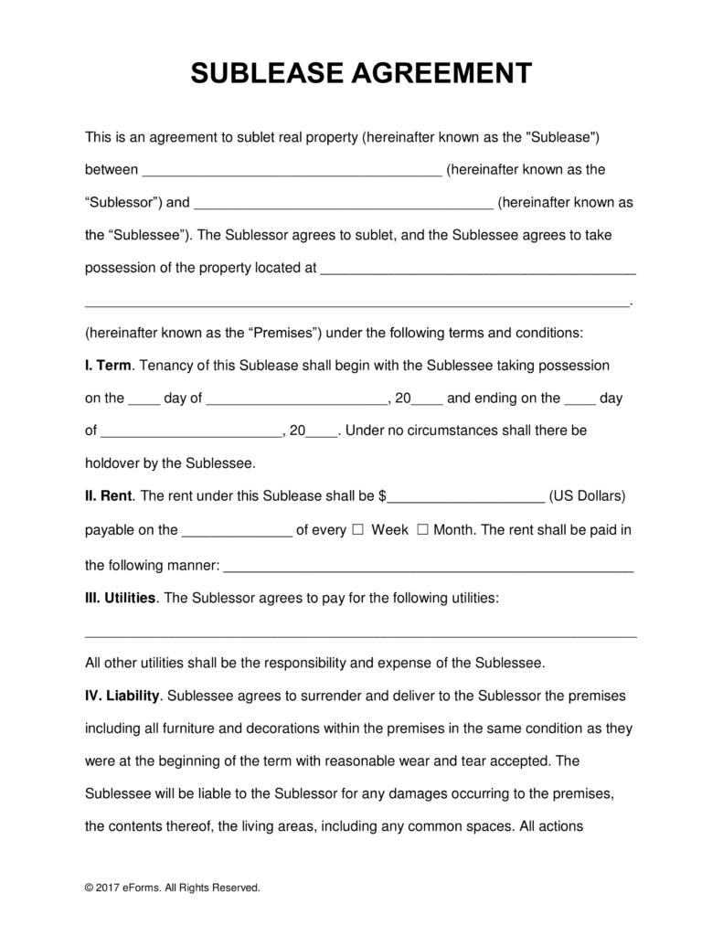 Sublet Agreement Form Montreal
