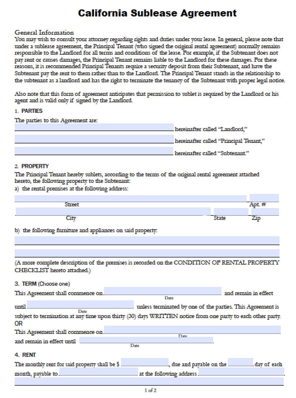 Sublet Agreement Form Nova Scotia