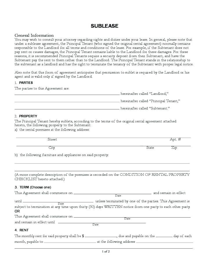 Sublet Agreement Form Quebec