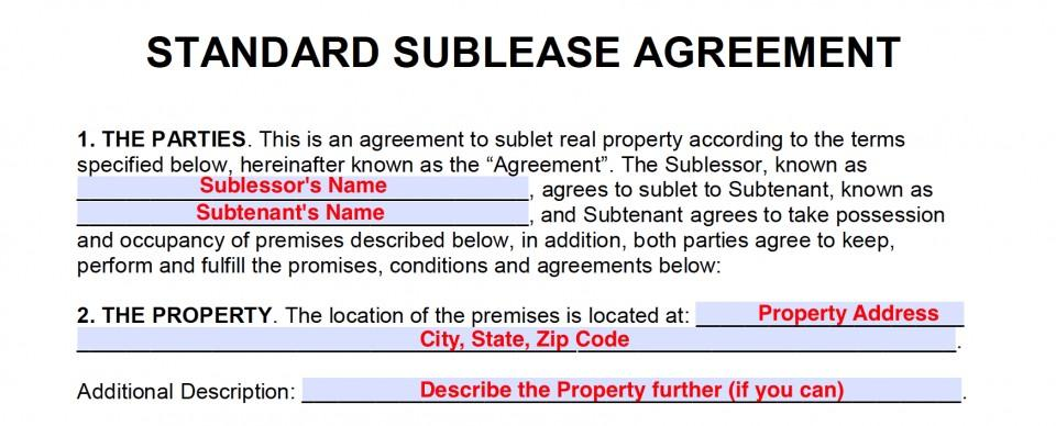 Sublet Agreement Form Toronto