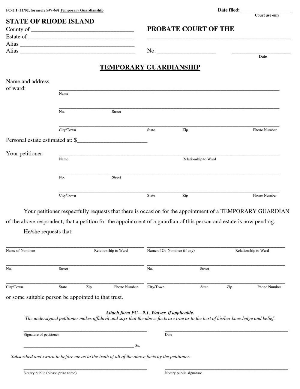 Temporary Guardianship Forms Nevada
