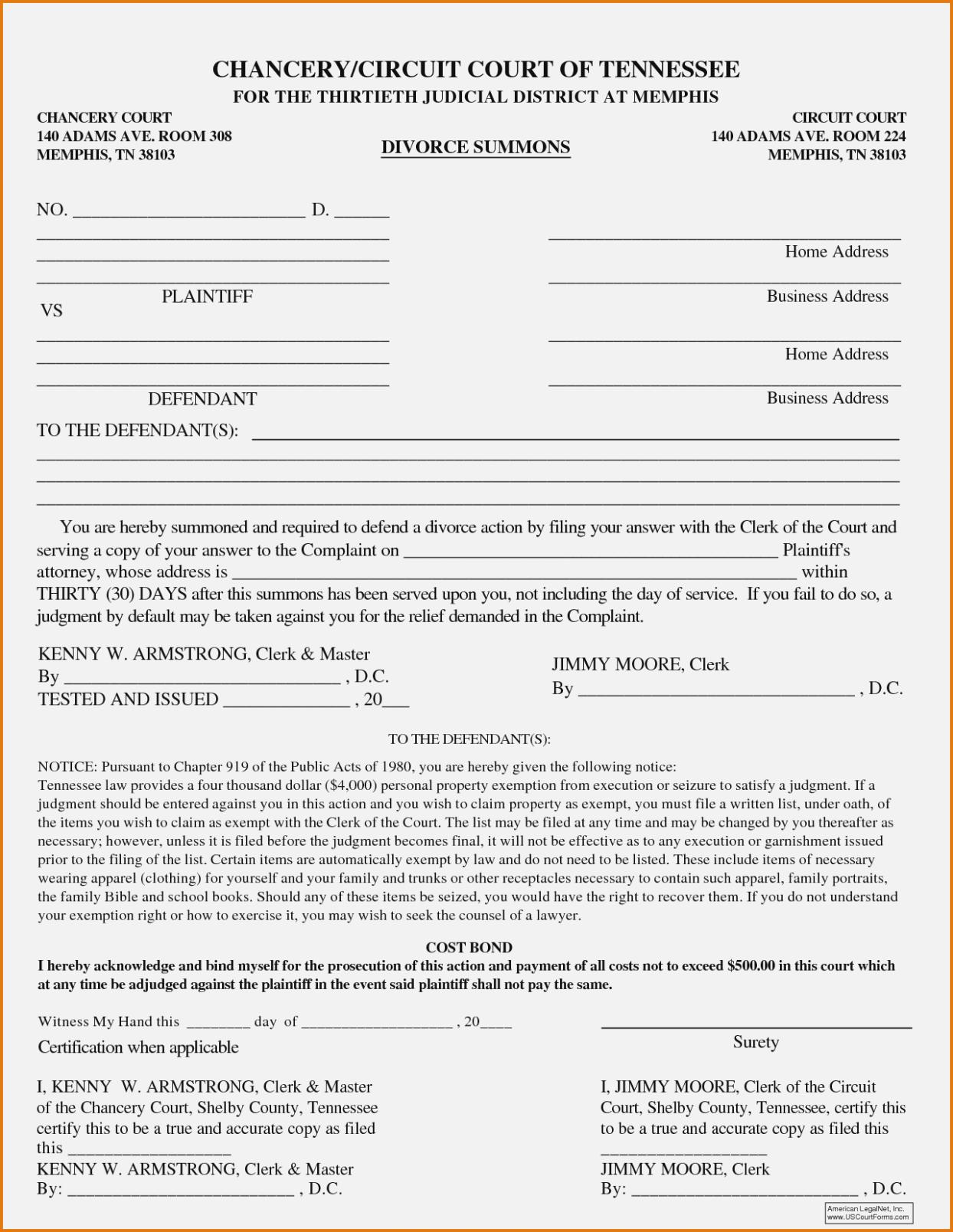Tennessee Official Divorce Forms