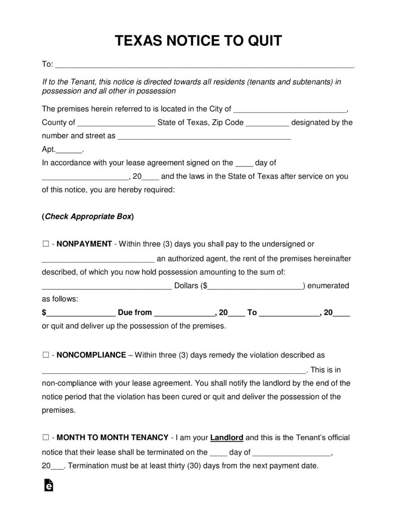 Texas Eviction Notice To Vacate Form