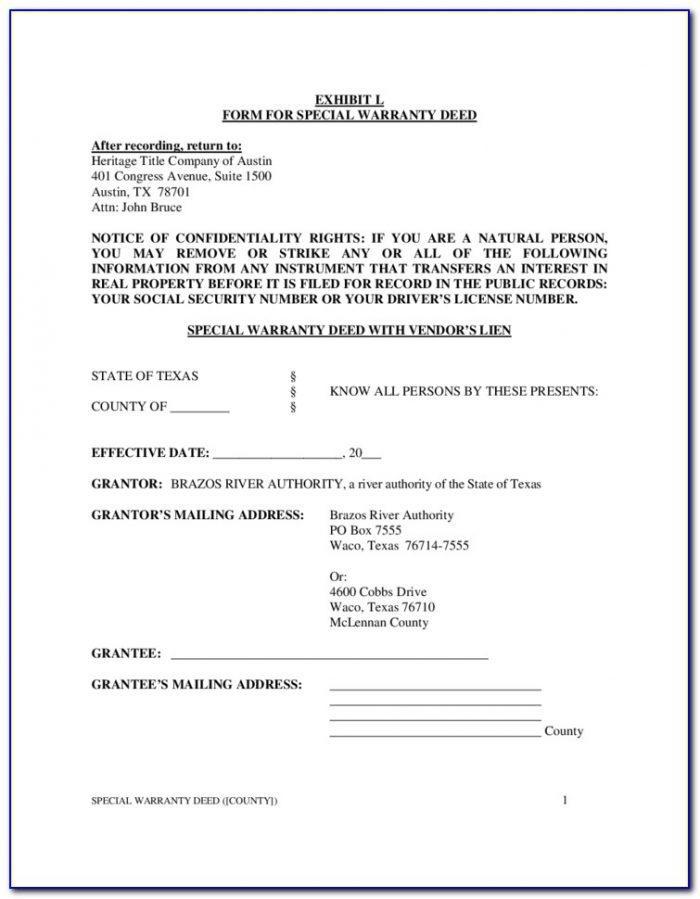 Texas Special Warranty Deed Form