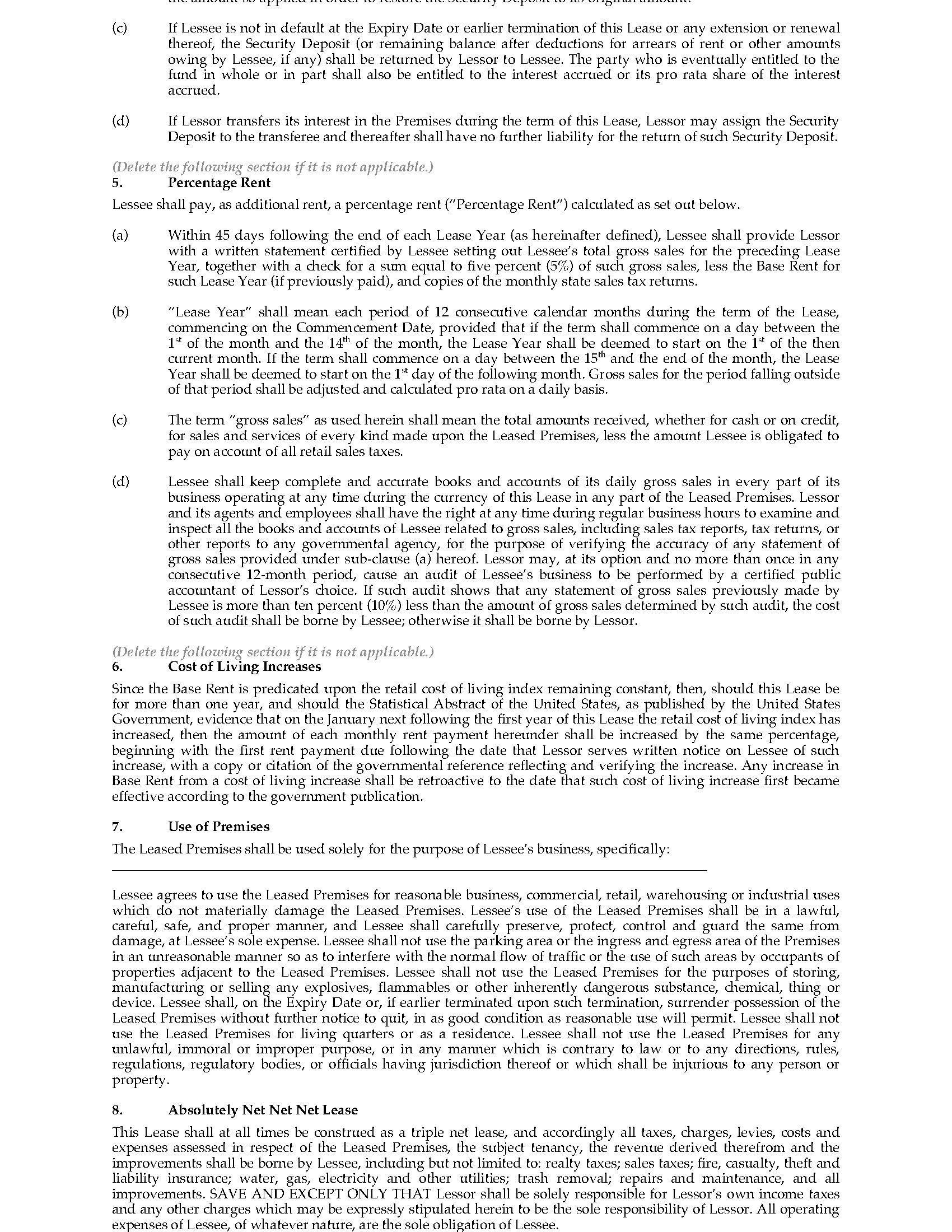 Triple Net Lease Agreement Definition