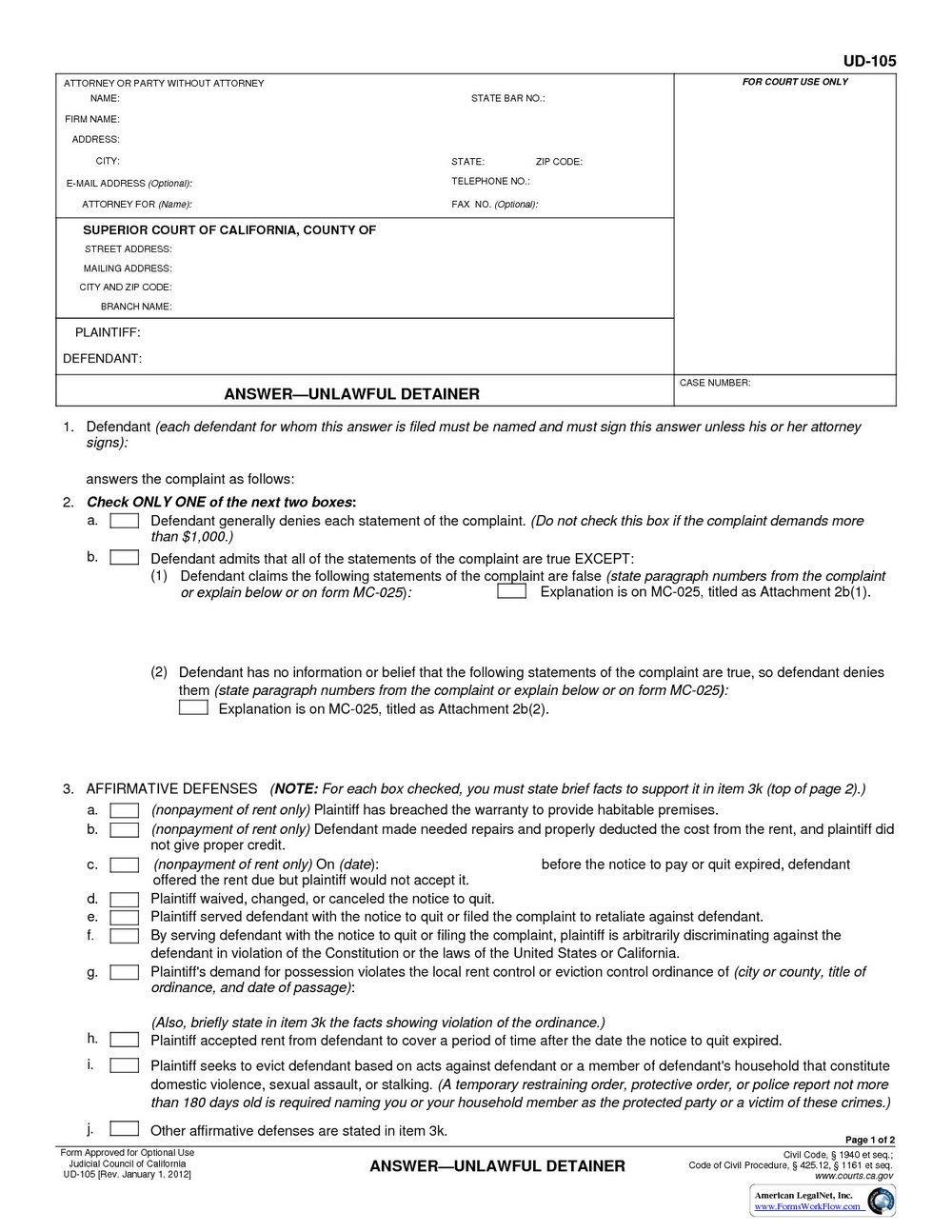 Unlawful Detainer Forms Washington State