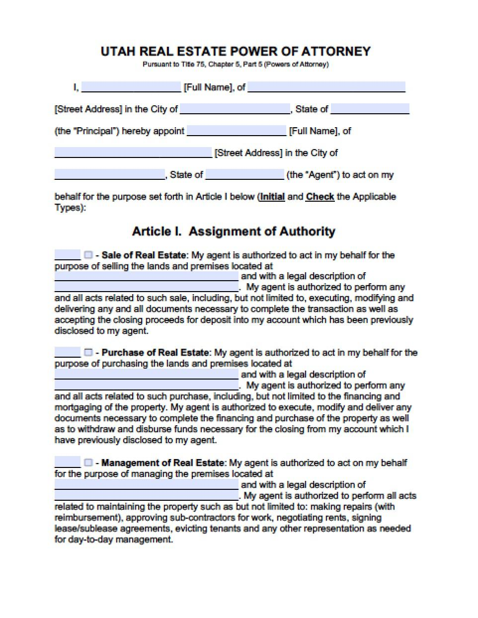 Utah Standard Power Of Attorney Form