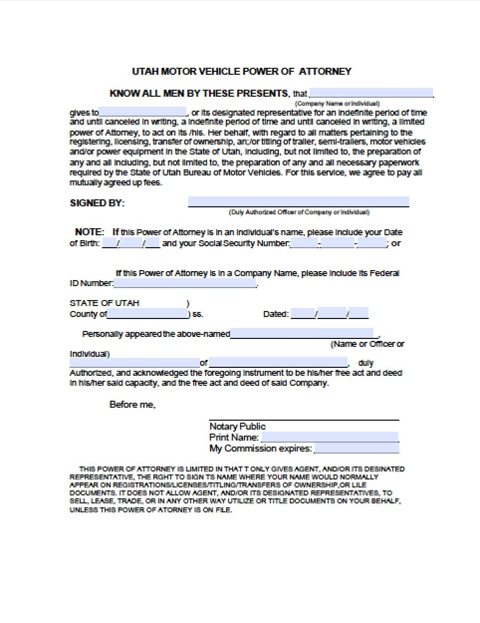 Utah Vehicle Power Of Attorney Form