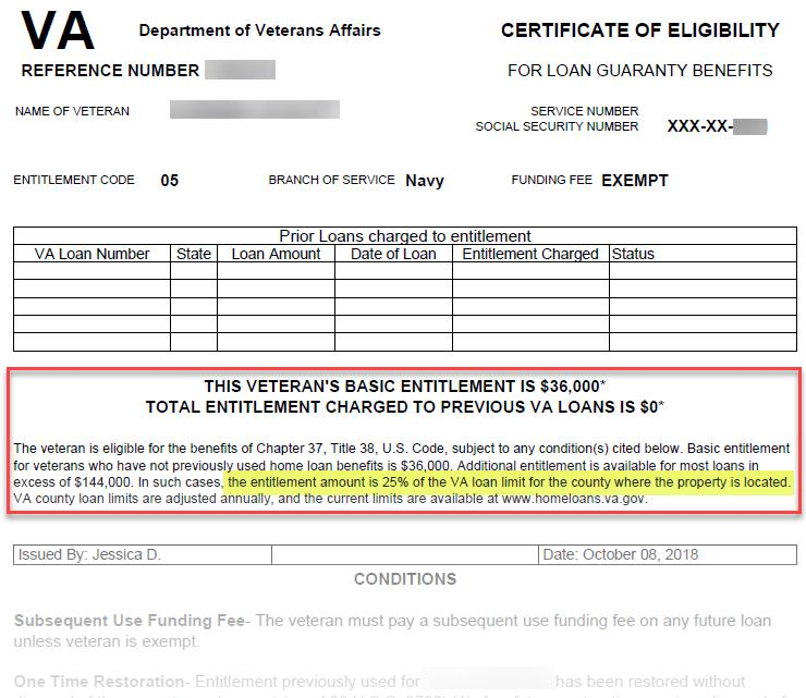 Va Certificate Of Eligibility For Loan Guaranty Benefits