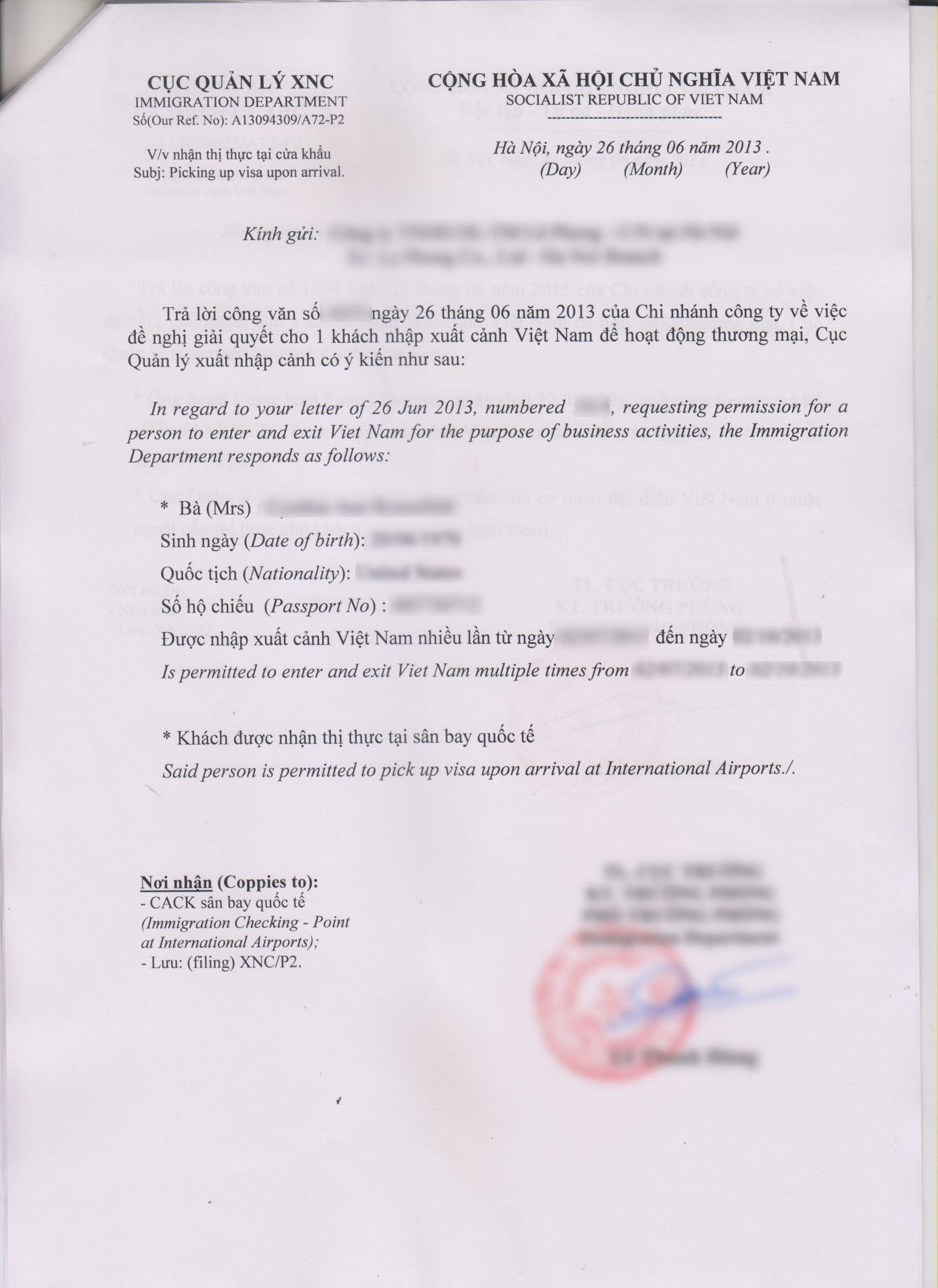 Vietnam Visa Application Form Example