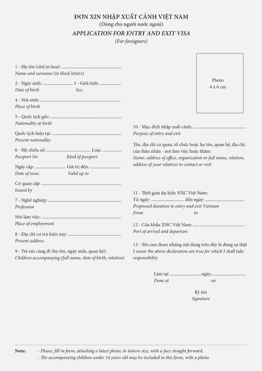Vietnam Visa Application Form Questions