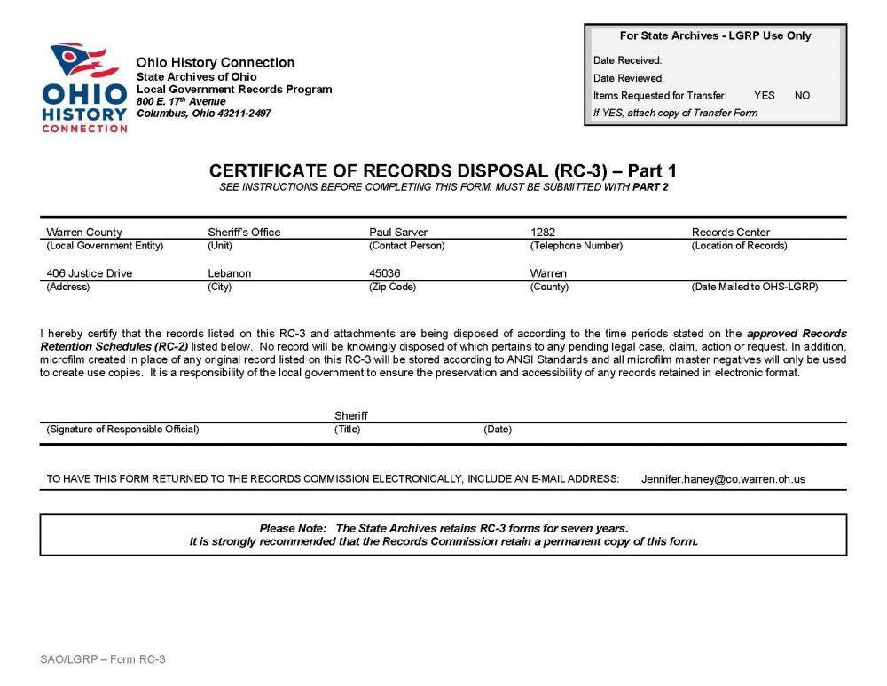 Warren County Ohio Dissolution Forms