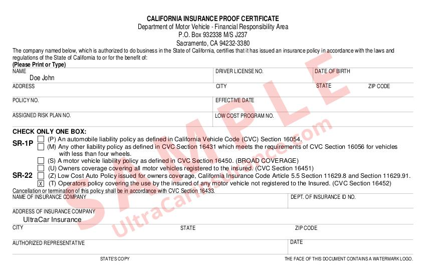 What Is An Sr22 Filing California