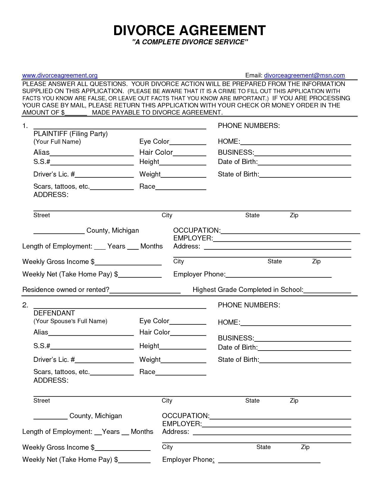 Wisconsin No Fault Divorce Forms