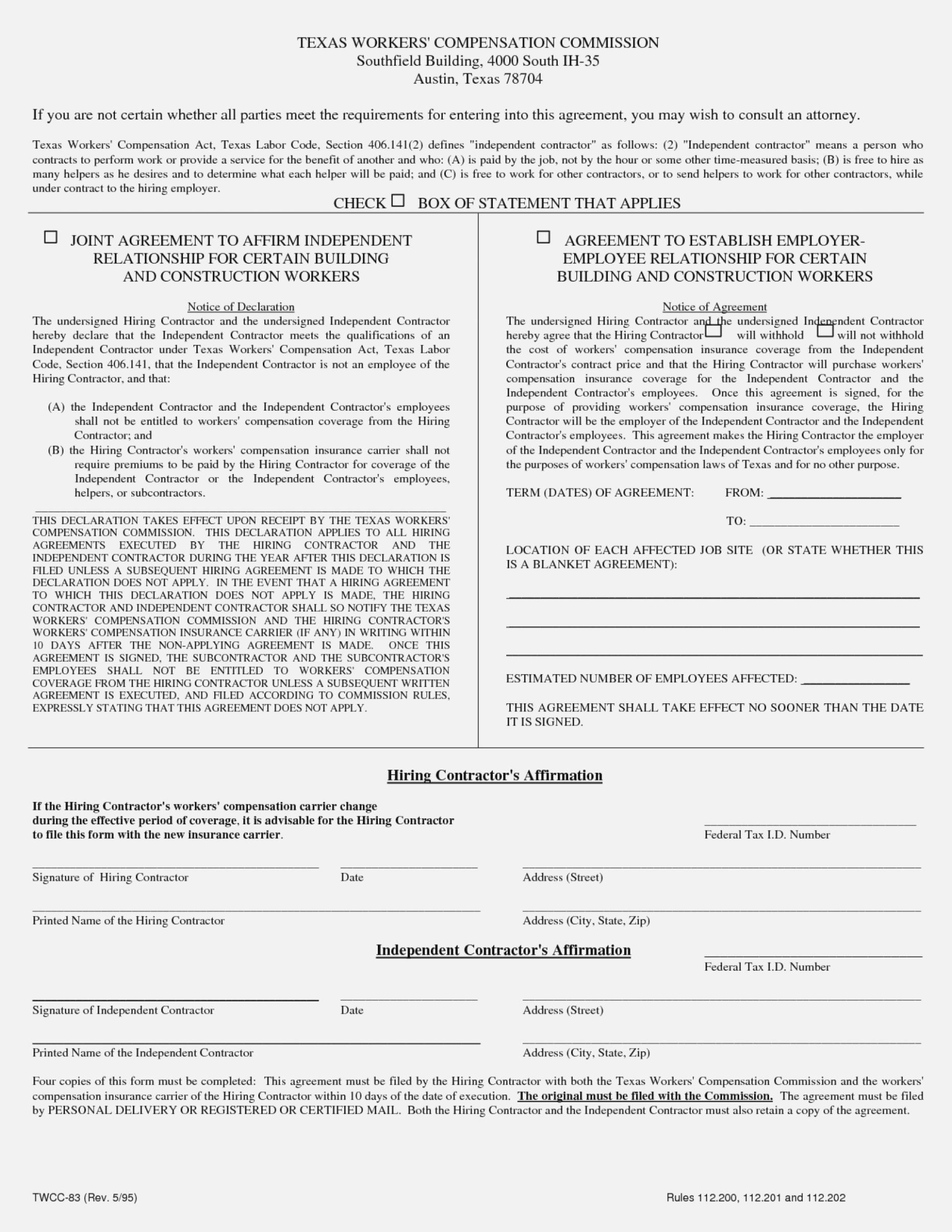 Workers Compensation Waiver Form California
