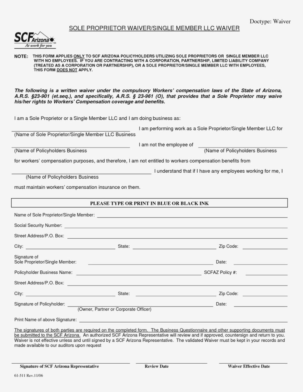 Workers Compensation Waiver Form For Independent Contractors Arizona