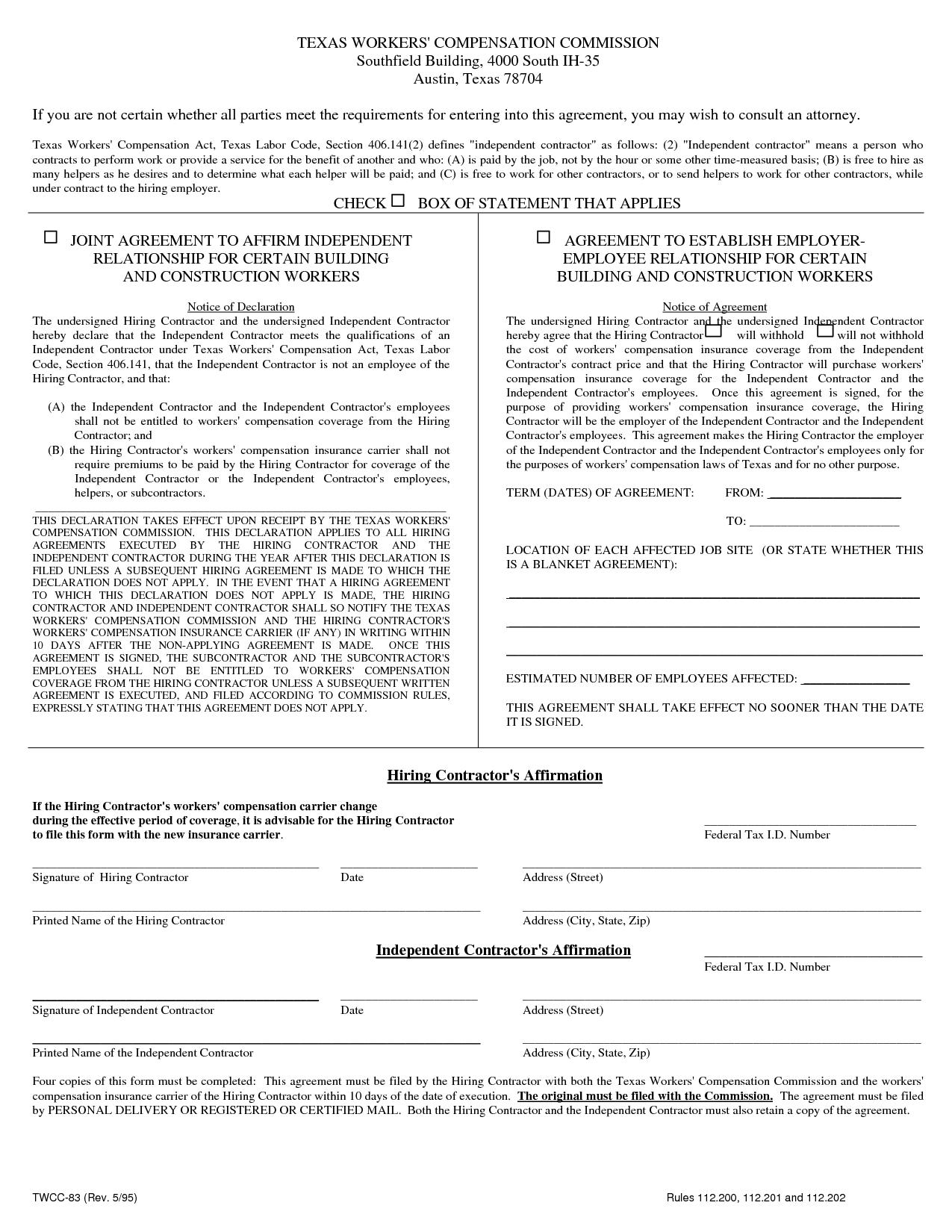Workers Compensation Waiver Form Texas