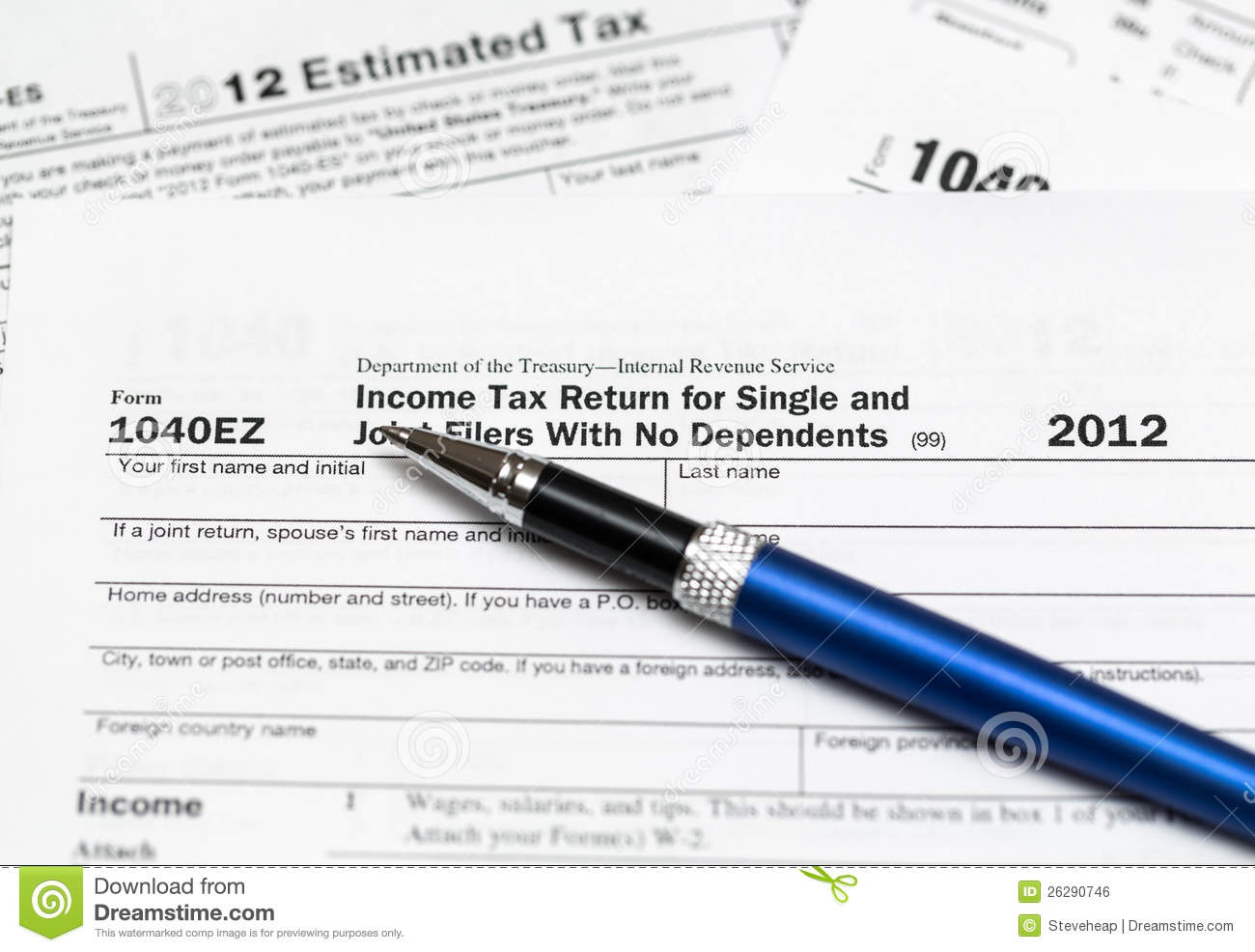 1040ez 2012 Income Tax Form