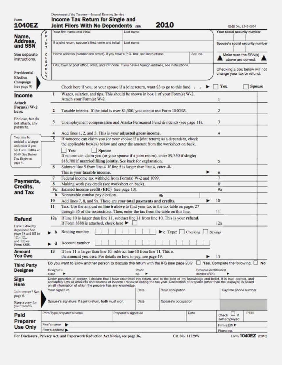1040ez Tax Form 2017