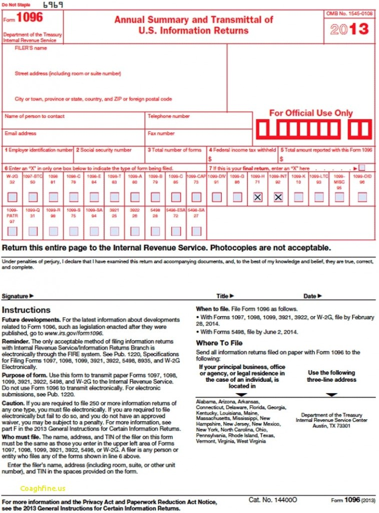 1096 Irs Form Instructions