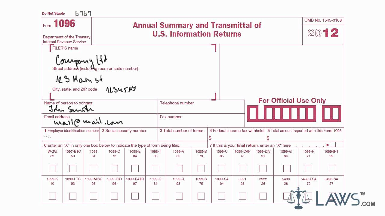 1096 Summary Transmittal Form