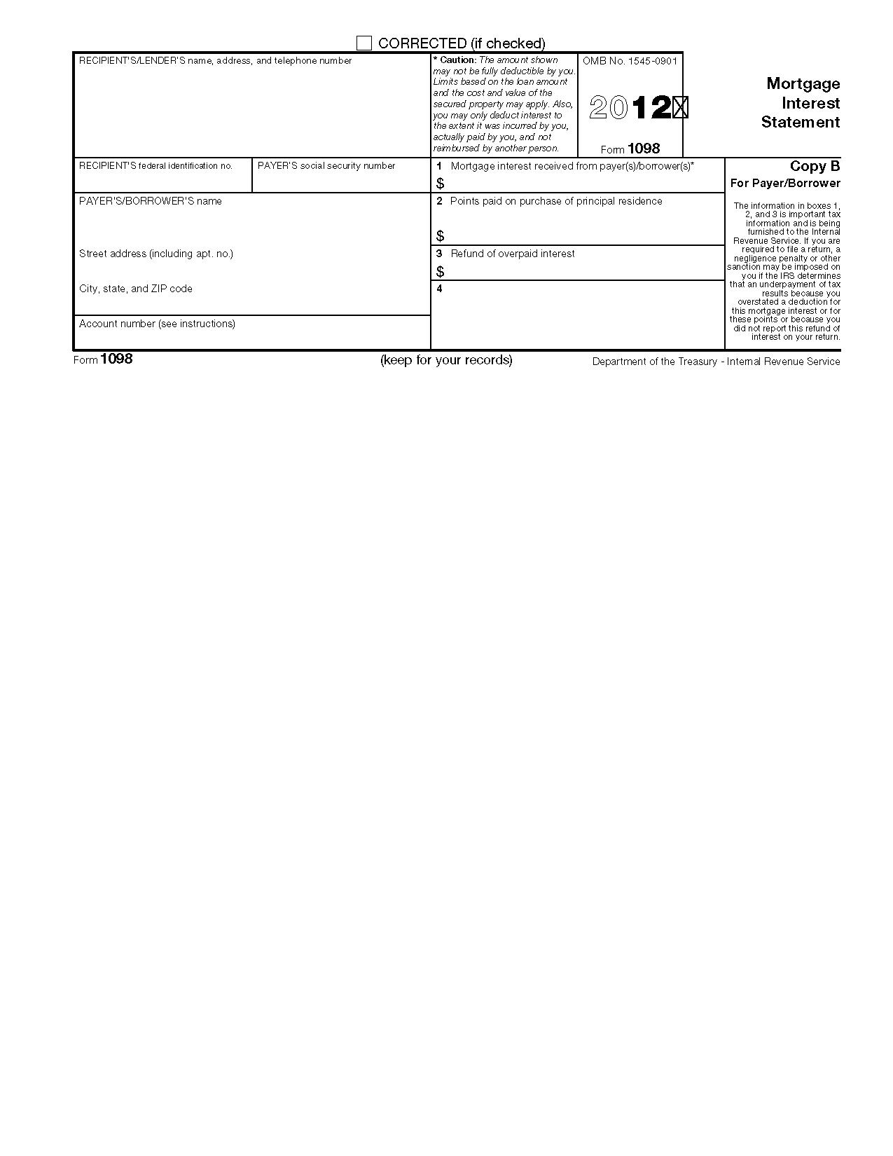 1098 Mortgage Interest Form 2016
