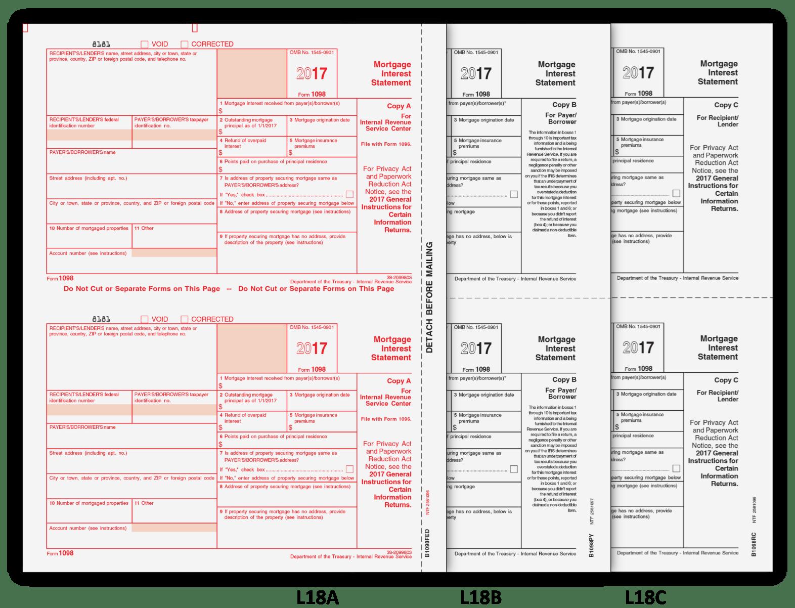 1098 Mortgage Interest Form 2017