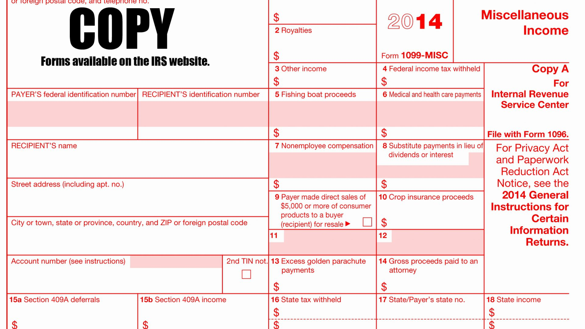 1099 Form 2013 Fillable Free