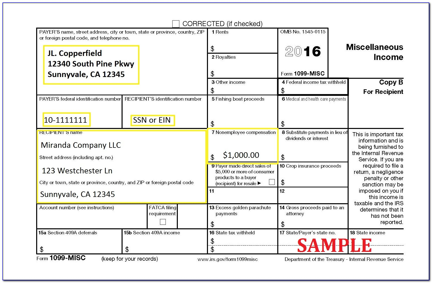 1099 Form Misc 2016