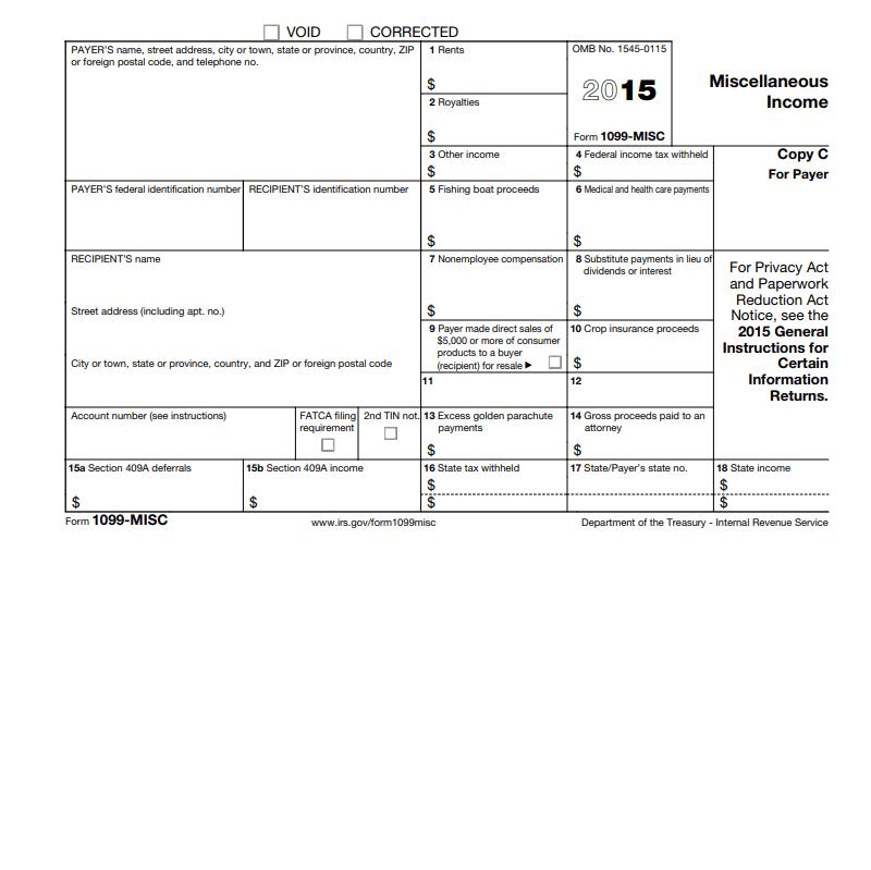 1099 Misc 2015 Form Pdf