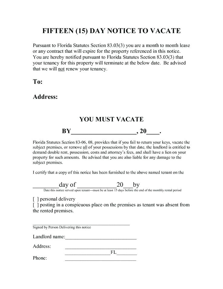 15 Day Eviction Notice Florida Form