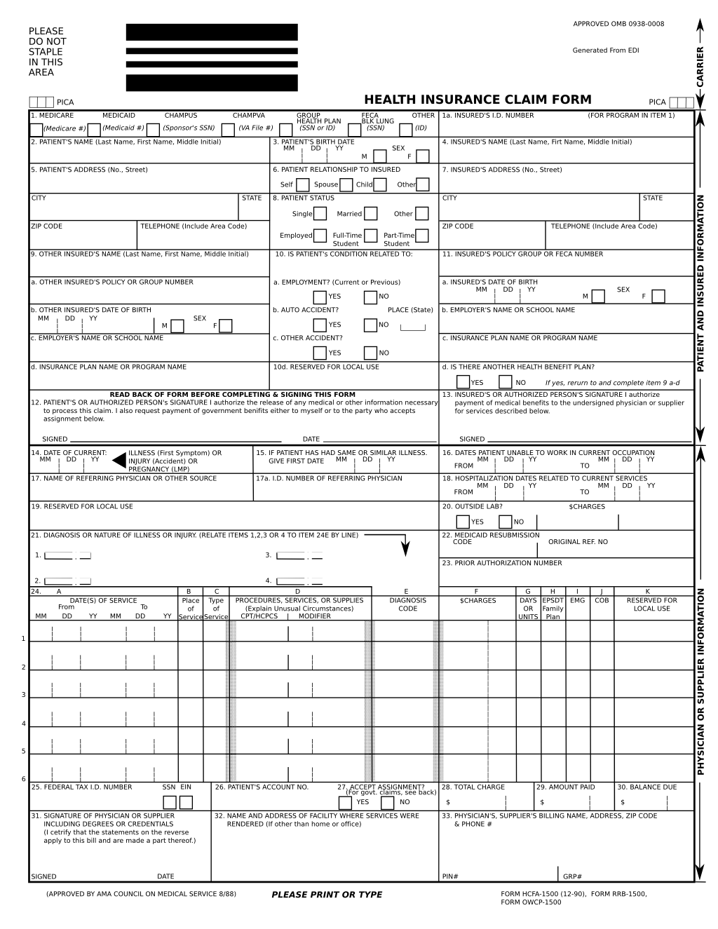 1500 Health Insurance Claim Form Fillable Free