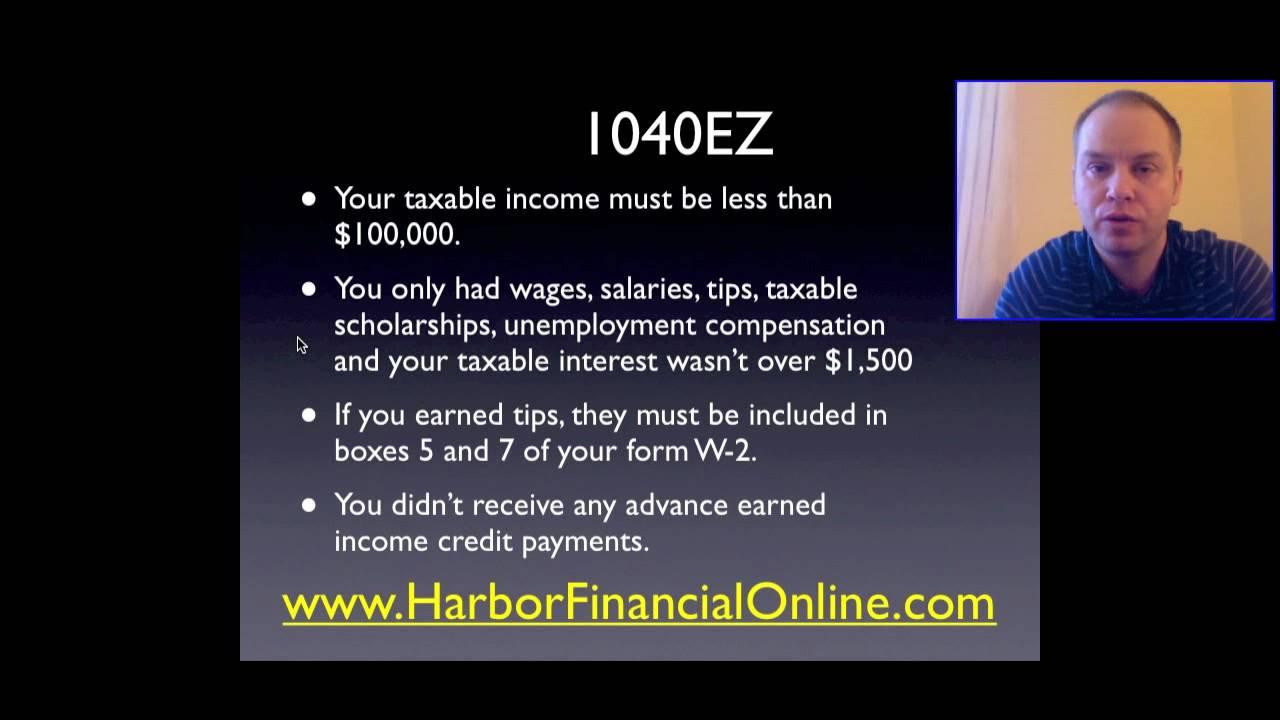 2012 Ez 1040 Tax Form Instructions