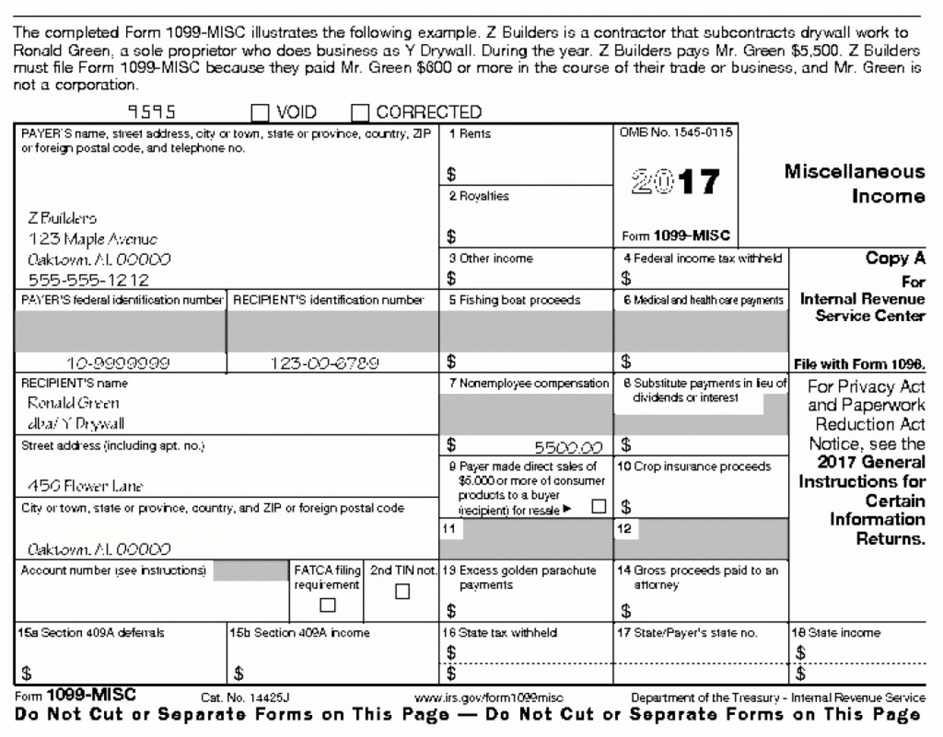 2017 Form 1099 Misc Instructions Pdf