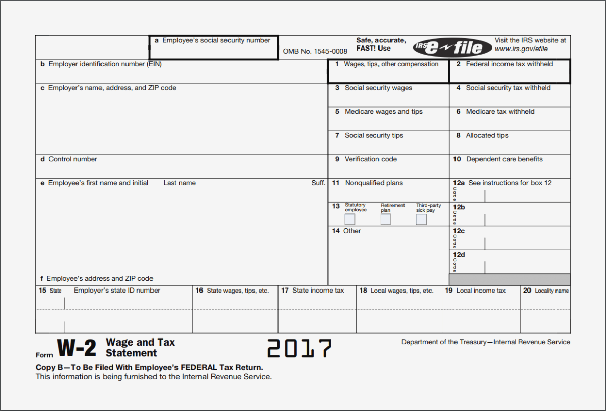 2017 W2 Form Fillable Free