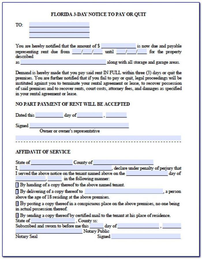 5 Day Eviction Notice Form Florida