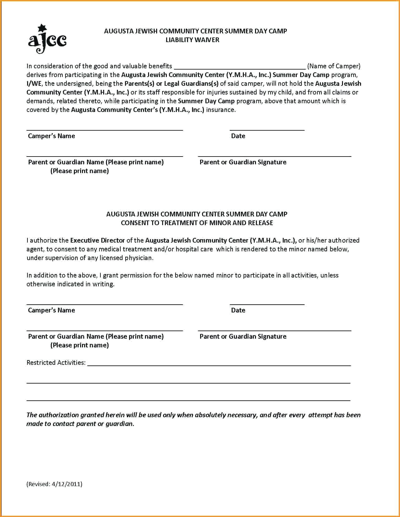 Accident Waiver And Release Of Liability Form Template Free