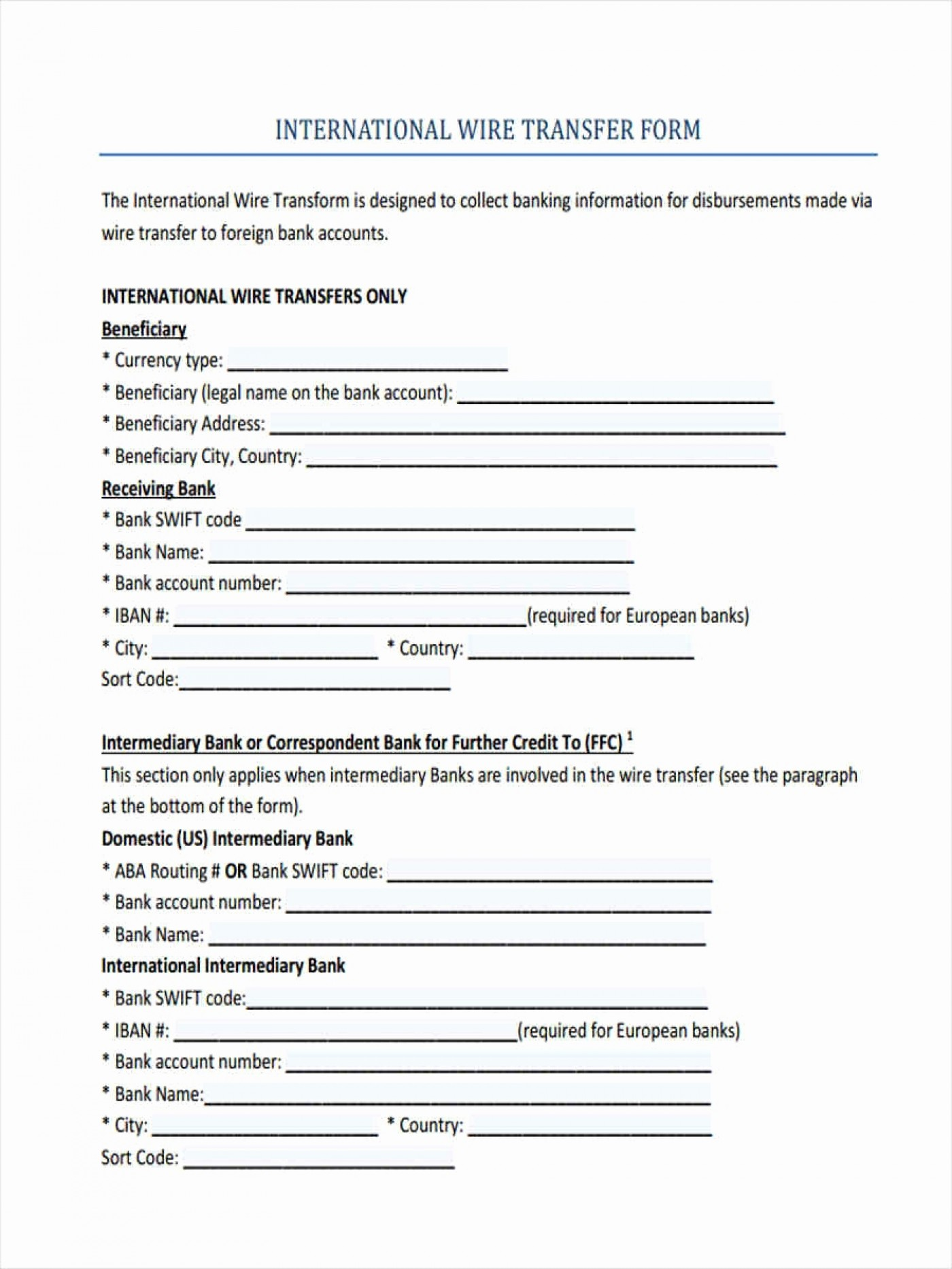 Ach Bank Transfer Form