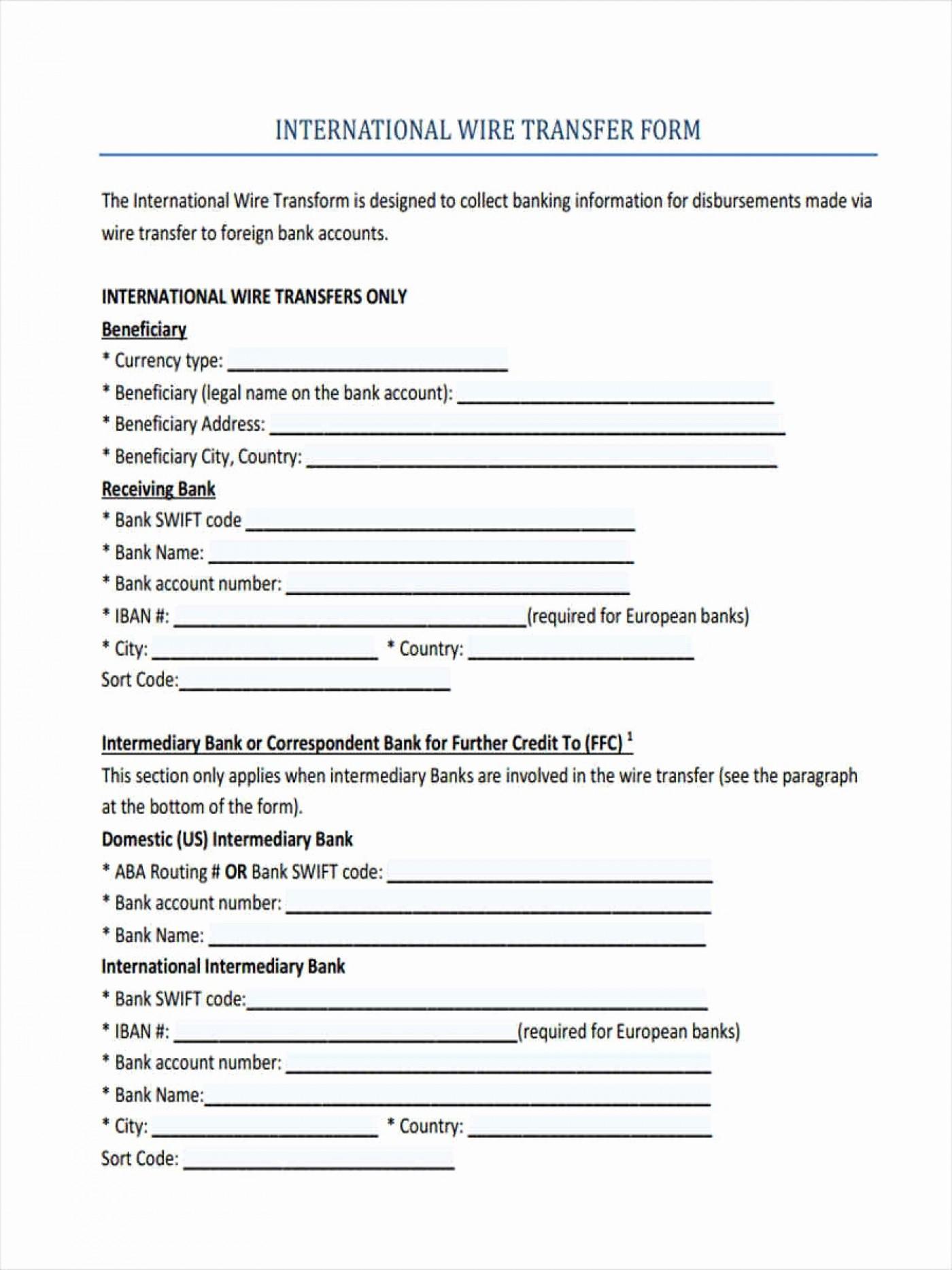 Ach Bank Transfer Form