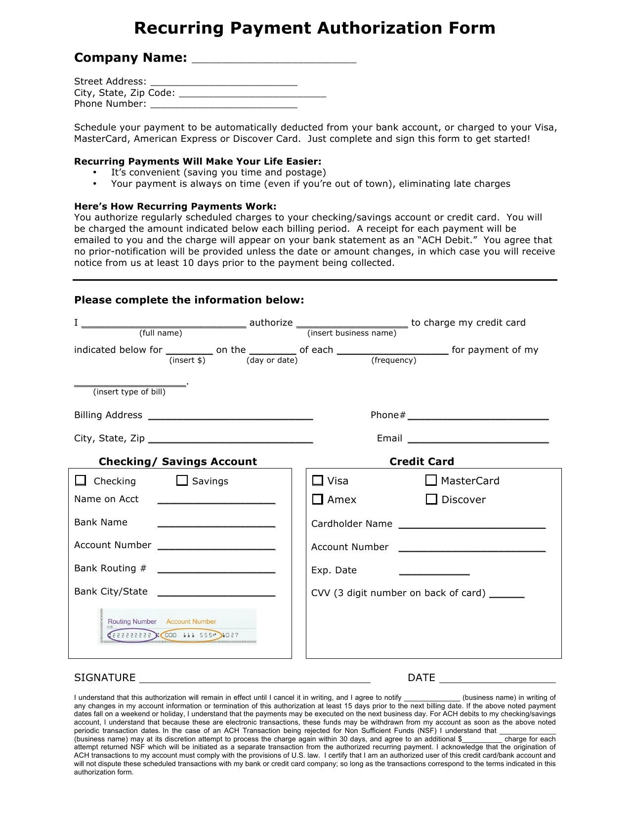 Ach Authorization Form Template Template Ach Debit Authorization Agreement Form
