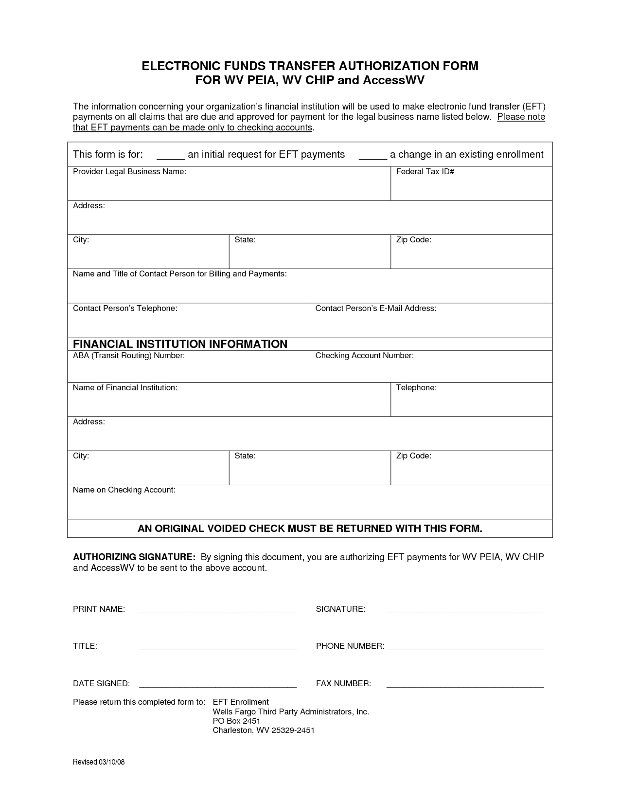 Ach Wire Transfer Form