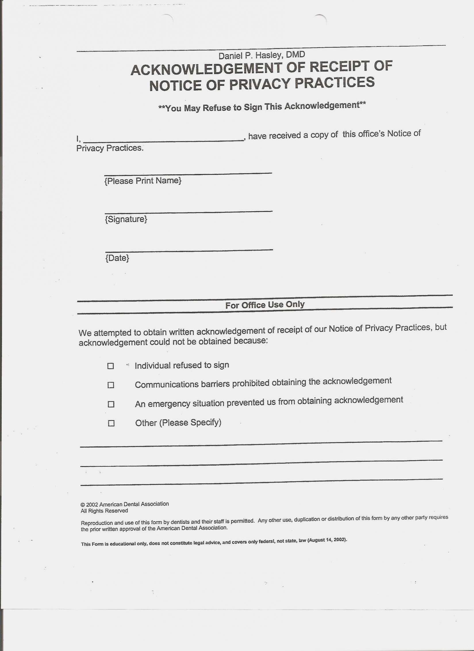 Acknowledgement Of Receipt Of Notice Of Privacy Practices Form