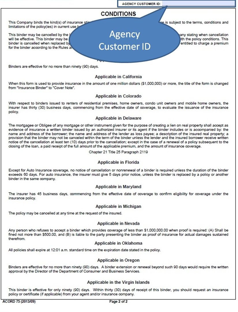 Acord 75 Insurance Binder Form | Universal Network