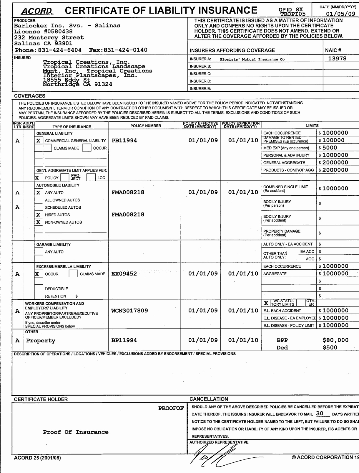 Acord Certificate Of Liability Insurance Form Pdf