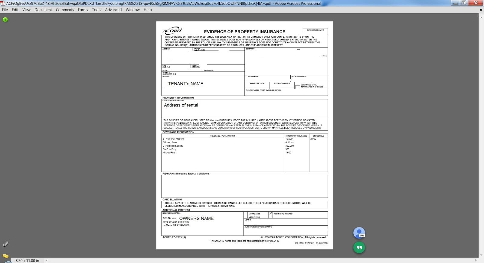 Acord Form Renters Insurance