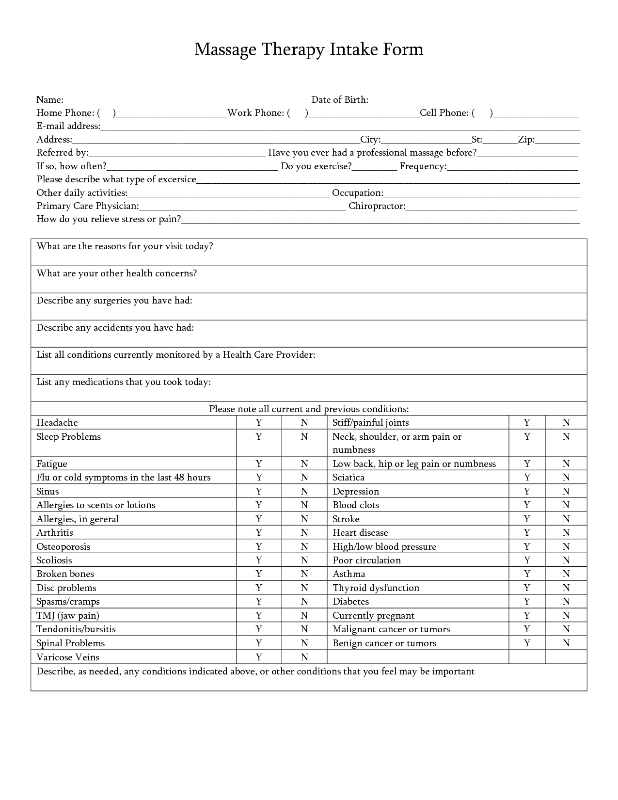 Acupuncture Intake Form Pdf
