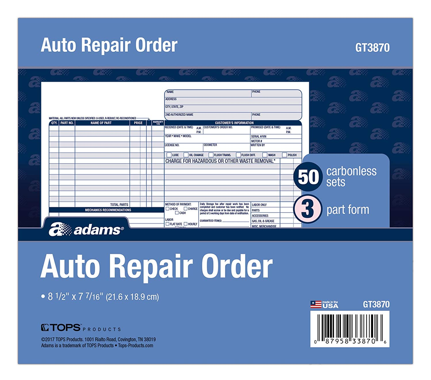 Adams Carbonless Service Order Forms